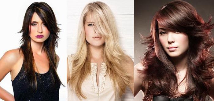 стрижки с косой чёлкой на длинные волосы фото