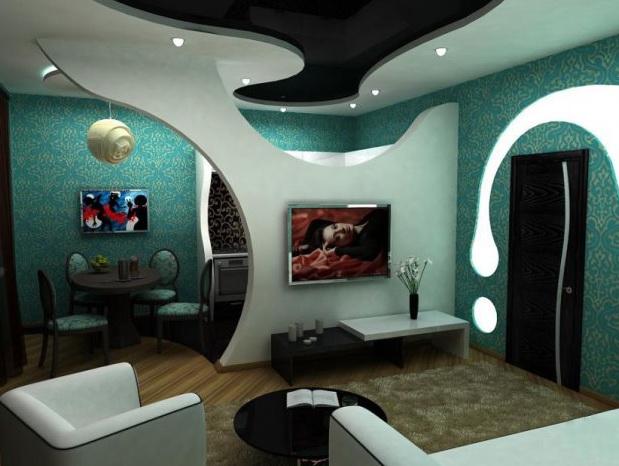 Дизайн стен из гипсокартона фото