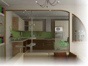 Стильный дизайн кухни-студии